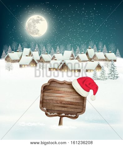 Winter village night background with wooden sign.