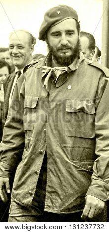 Yangiyer Uzbekistan - May 10 1963: Fidel among the people.