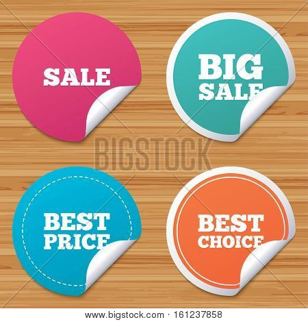Round stickers or website banners. Sale icons. Best choice and price symbols. Big sale shopping sign. Circle badges with bended corner. Vector