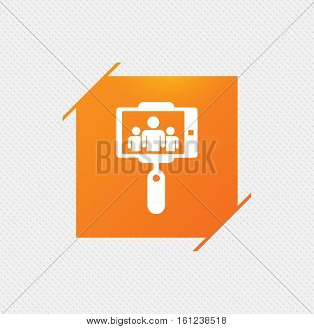 Monopod selfie stick icon. Self portrait with group of people. Orange square label on pattern. Vector
