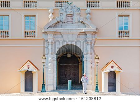 Monaco Ville Monaco - October 7 2016: Royal guard on duty at the official residence of the Prince of Monaco in Monaco City Monaco.