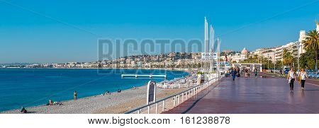 Famous Promenade Des Anglais And Nice City Coastline