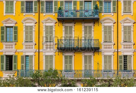 Mediterranean Facade With Illusion Paint Work In Nice France
