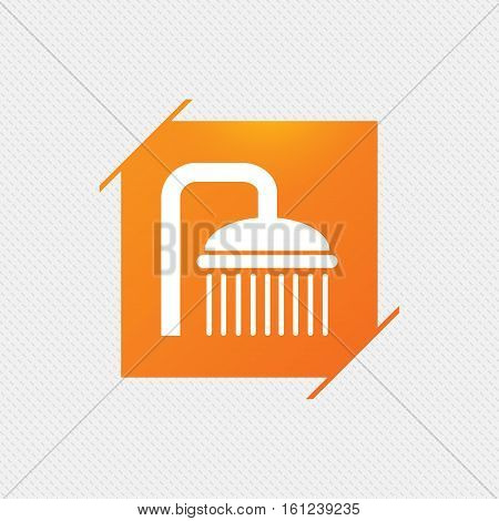 Shower sign icon. Douche with water drops symbol. Orange square label on pattern. Vector