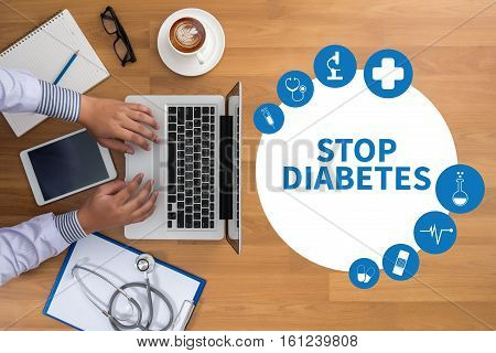 Stop Diabetes Concept Stop Diabetes Against Healthy