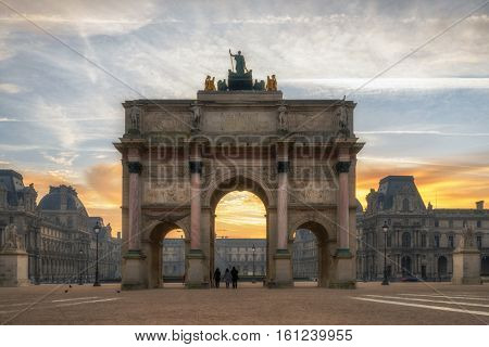 Arc de Triomphe at the Place du Carrousel in Paris France  at sunrise