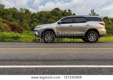 Phuket, Thailand - November 3 : Private Car, Toyota New Fortuner Parking On The Asphalt Road In Phuk