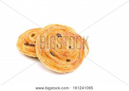 Sweet Danish Pastries With Custard And Raisins Isolated On White Background