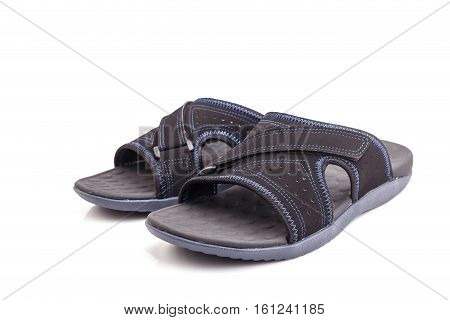 New Black Men's Sandals Isolated On White