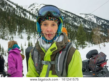 Mamay, Russia - December 7-11, 2016: Competitions Freeride Mamay First Snow 2016 Mountain Near Mamay