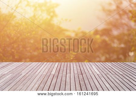 Empty Top Of Wooden Floor Or Decking And View Of Sunset Or Sunrise Background