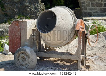 cement mixer on the construction site