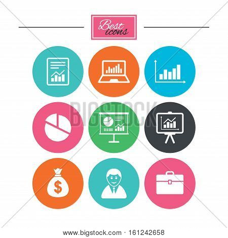 Statistics, accounting icons. Charts, presentation and pie chart signs. Analysis, report and business case symbols. Colorful flat buttons with icons. Vector