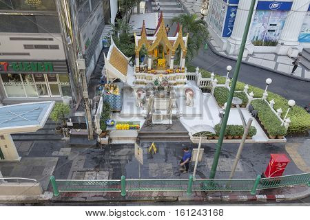 BANGKOKTHAILAND - NOV 26 : view of Indra shrine near Ratchaprasong Junction on november 26 2016. Indra shrine is one of many god shrine in Ratchaprasong area