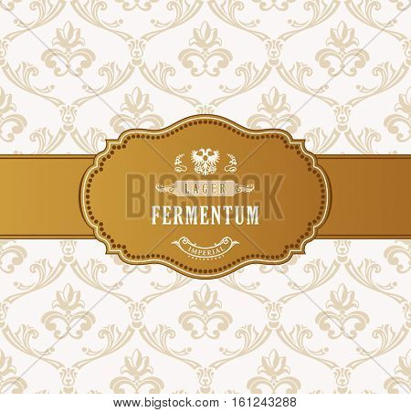 Oval golden frame vector. Luxury packing in art deco style. A place for congratulations or company name. Decoration vignette for a gift, card, invitation, template logo