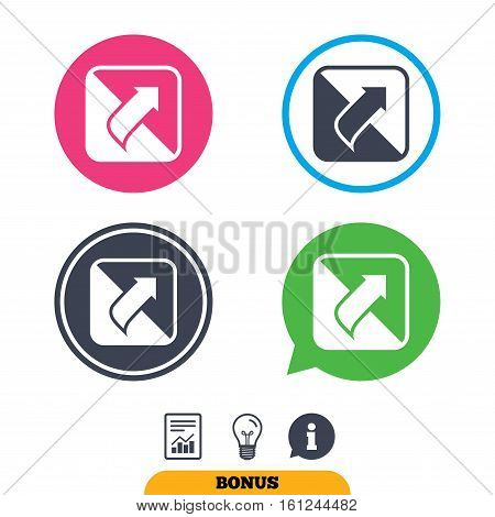 Turn page sign icon. Peel back the corner of the sheet symbol. Report document, information sign and light bulb icons. Vector
