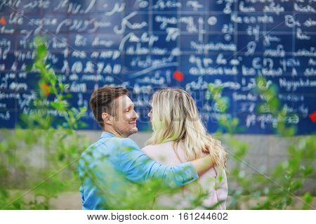 Couple Near I Love You Wall On Montmartre