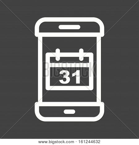 App, mobile, calendar icon vector image. Can also be used for smartphone. Suitable for mobile apps, web apps and print media.