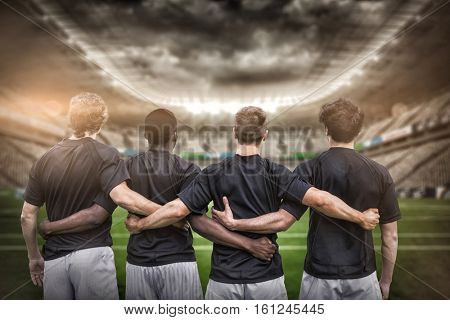 3D Rugby stadium against rugby players standing together before match