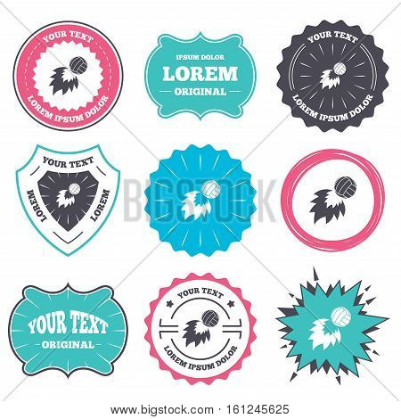 Label and badge templates. Volleyball fireball sign icon. Beach sport symbol. Retro style banners, emblems. Vector