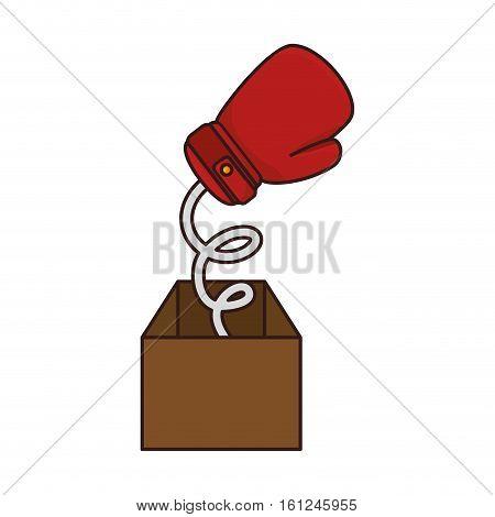 boxing gloves equipmenti surprice box icon vector illustration design