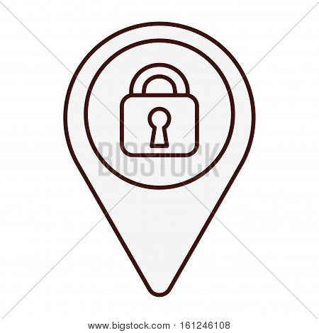 gps pin with safety lock  icon image vector illustration design