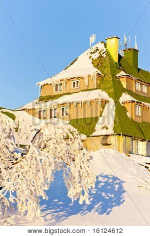 Masarykova Cottage, Orlicke Mountains in winter, Czech Republic poster