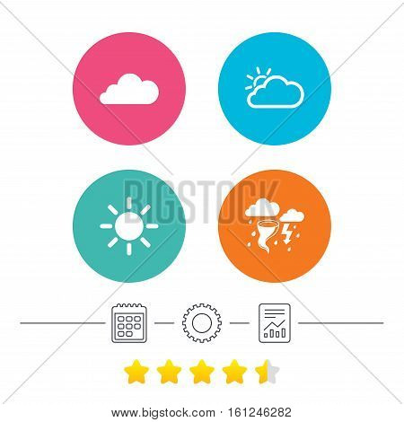 Weather icons. Cloud and sun signs. Storm or thunderstorm with lightning symbol. Gale hurricane. Calendar, cogwheel and report linear icons. Star vote ranking. Vector