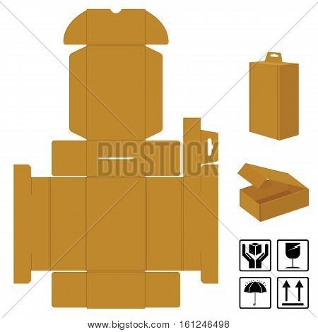 Box Corrugated brown open lid on top and symbols icon isolated on white background.