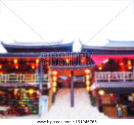 Abstract blurred background of Chinese restaurant building.