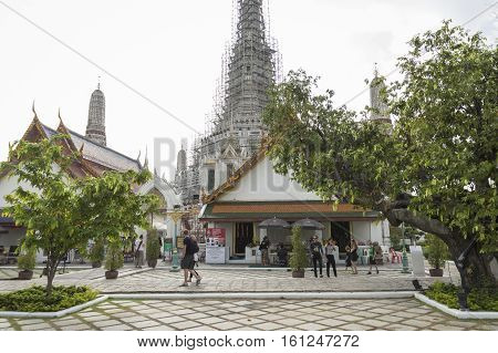 BANGKOK THAILAND - NOV 19 : scene of in front of main stupa at Wat Arun temple on november 19 2016. Wat Arun is one of popular tourism place in Bangkok