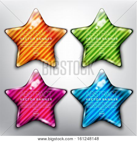 Abstract vector banner set of 4. Glass stones in shape of stars with yellow, green, blue and violet design on the white background. Each item contains space for own text. Vector illustration. Eps10.