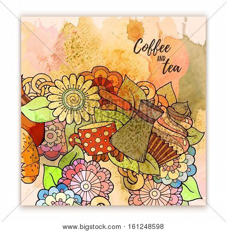 Breakfast theme. Pattern with coffee cezve, pot, jug, tea cup, croissant, cupcake, sweets and flowers. Tea and coffee hand drawn pattern. Background for menu, site, cafe, restaurant, teahouse.