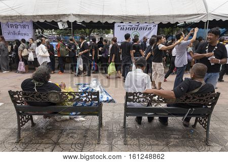 BANGKOK THAILAND - OCT 25 : people in Sanam Luang area while the royal funeral of king Bhumibol Adulyadej in Grand Palace on october 25 2016