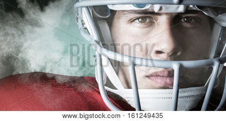 3D Close-up portrait of confident sportsman against digitally generated image of color powder