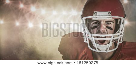 3D Portrait of rugby player screaming against splashing of yellow color powder
