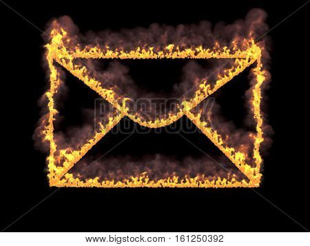 Mail icon on fire with fume. 3d render. Graphic illustration
