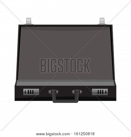 Open Black Leather Briefcase Vector illustration. Flat color style design