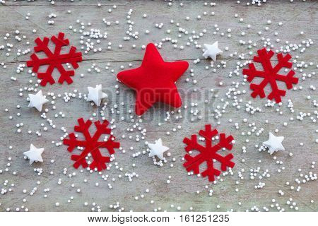 Christmas Decoration On Wood Background, Flat Laying In Top View