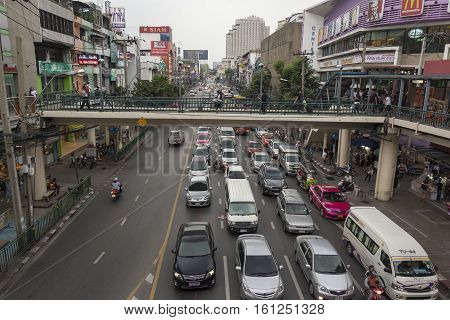 BANGKOK THAILAND - NOV 25 : car in traffic jam in Victory Monument on november 25 2016 thailand. traffic jam is one of worse issue of Bangkok