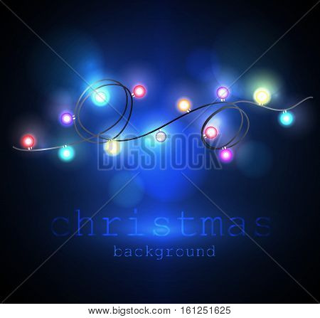 Garlands Christmas decorations lights effects. Isolated vector design elements. Glowing lights for Xmas Holiday greeting card design. Christmas decoration realistic luminous garland