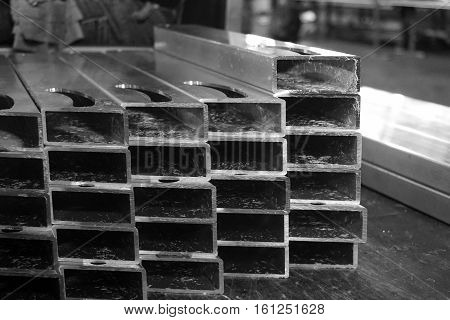 abstract stack of aluminum casting for background used