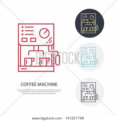 Coffee machine vector line icon. Barista equipment linear logo. Outline symbol for cafe, bar, shop.