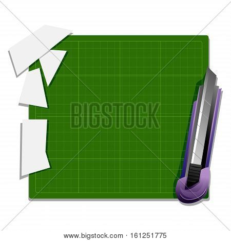Vector Illustration of Cutter Knife with Cutter Board