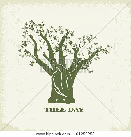 Concept of landscape design.Baobab tree silhouette on kraft paper background.Organic Sign, logo.