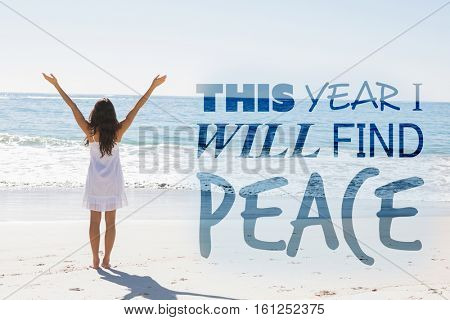 This year i will find peace against rear view of woman standing with arms outstretched