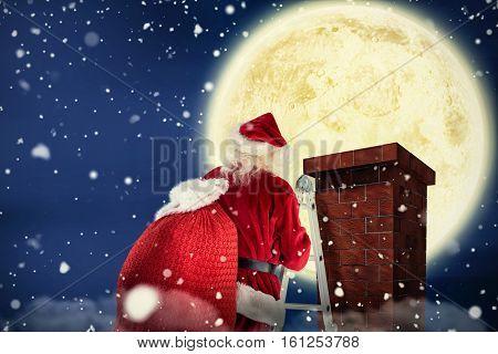 3D Santa steps up a ladder against composite image of full moon
