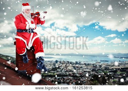 3D Smiling Santa Claus playing violin on chair against landscape of city and cloudy sky