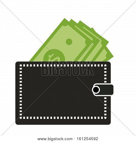 Wallet with dollars icon on white background. Wallet with dollars symbol.