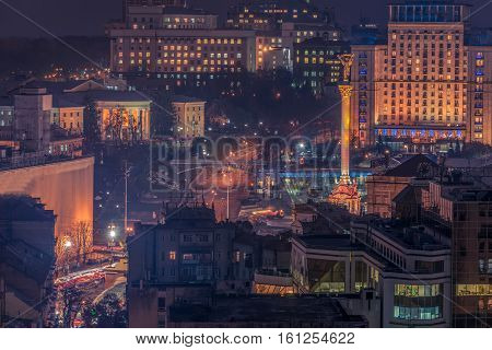 Kiev, Ukraine: aerial night view of Maidan Nezalezhnosti, Independence Square at night